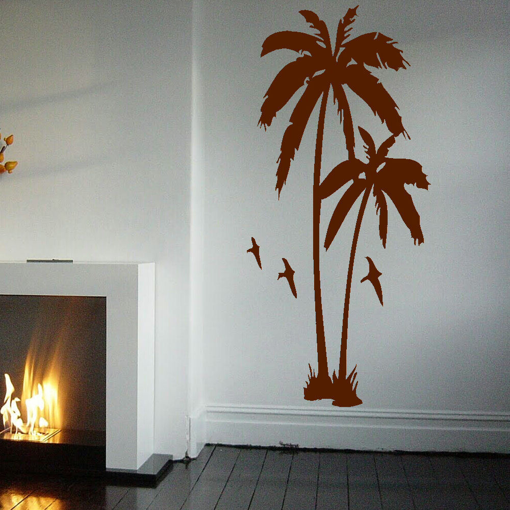 Huge palm tree hall bedroom wall art mural giant graphic for Mural art designs for bedroom