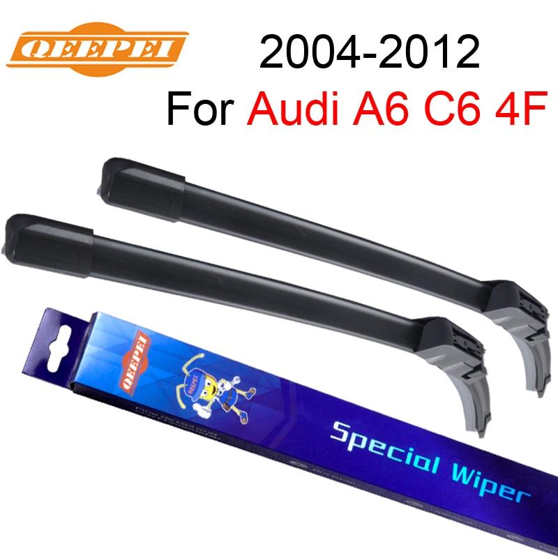 QEEPEI Pare-Brise D'essuie-Glace Pour Audi A6 C6 4F 2004 2005 2006 2007 2008 2009 2010 2011 2012 Caoutchouc Naturel Auto Accessoires De Voiture