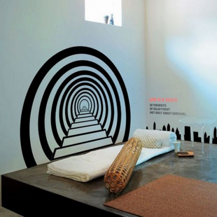 Skyline wall sticker creative time tunnel steps mural art for Creative mural art