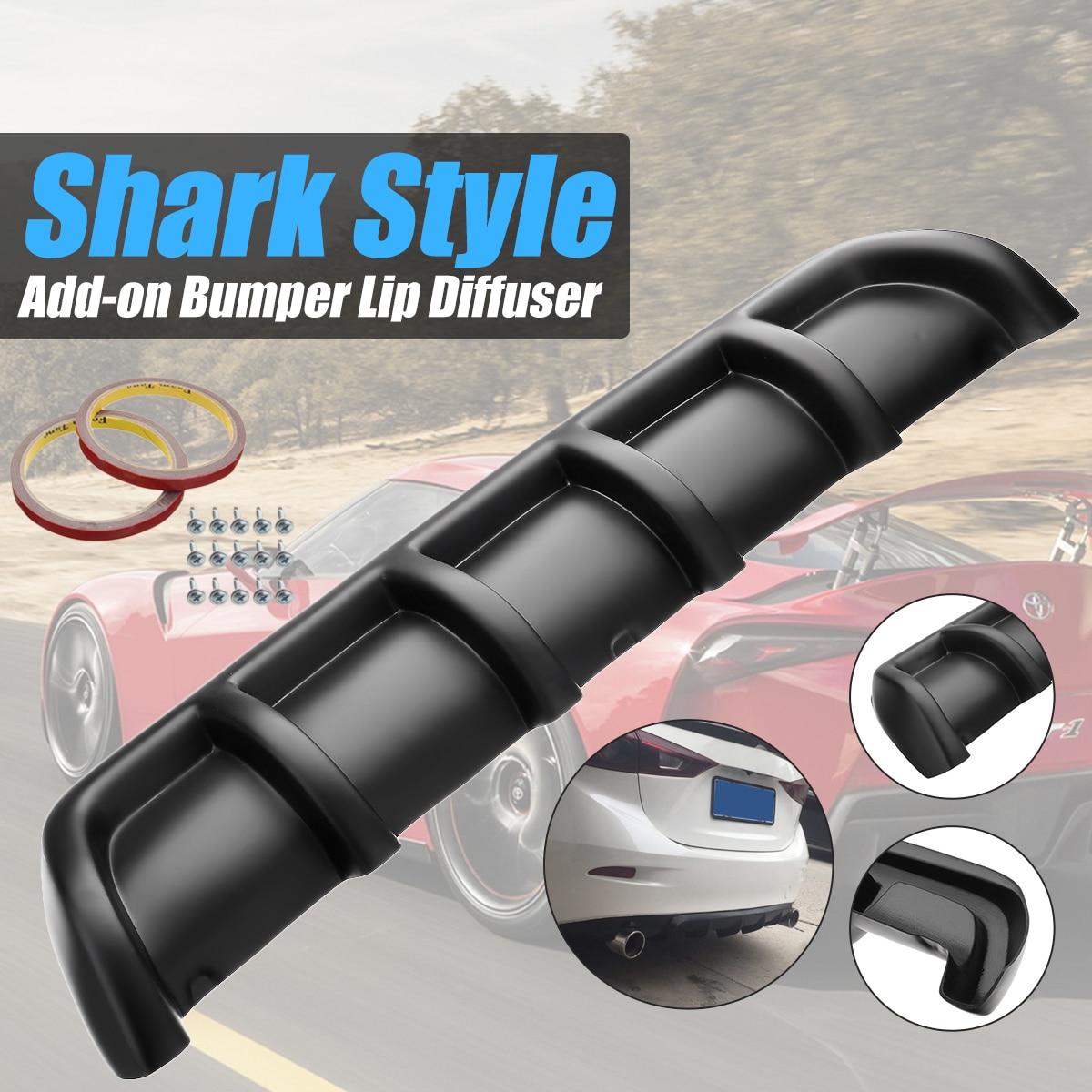 Universal 25x5 Matte Black Car Car Styling Plastic Rear Shark Fin Style Curved Bumper Lip Diffuser Shark 6 Fin Spoiler Kit