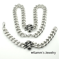 Skull Necklace Bracelet Set Silver 316L Stainless Steel men Biker jewelry punk KB554