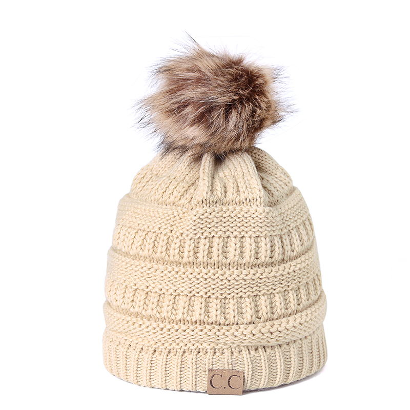 CC Knitted Hat winter hat 2018 fashion knitted black hats Fall Hat Thick and warm and Bonnet   Skullies     Beanie   Soft Knitted Bean