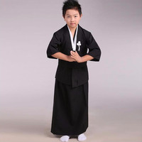 Black Japanese Baby Boys Kimono Child Warrior Cosplay Costumes Traditional Swordmen Yukata Kid Performance Dance Costume