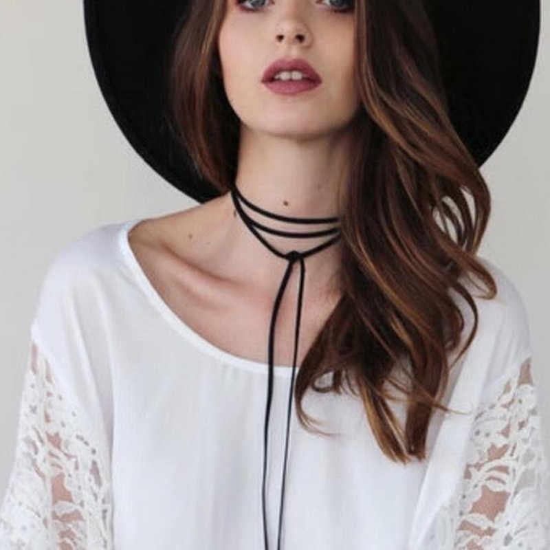 エレガントなロングファッション黒茶色の革コード銅管チェーンジュエリーアクセサリーネックレスチョーカーネックレス女性 x169