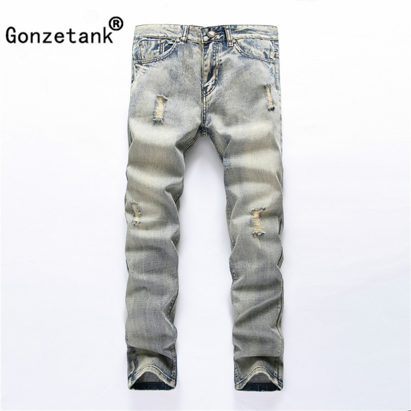 Gonzetank 2017 Light blue ash Trend Jeans for Men Classical and Straight Boyfriend Narrow Slim Fit Middle Waisted Size 28~40