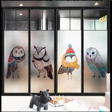 Window Glass stickers Cartoon owl frosted glass foil childrens room kindergarten film light opaque