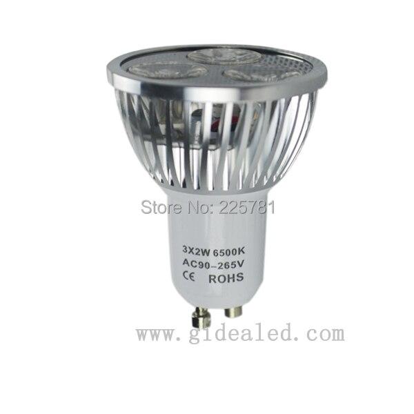 6-pak led lampe gu10 6W kald hvit LED spotlight inngang AC90-260V Gratis frakt