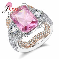 JEXXI Mystic Pink Crystal Engagement Ring For Women Paved Full White CZ Zircon Fine 925 Sterling