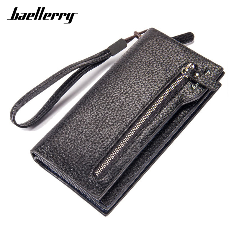 Brand Solid Men Clutch Wallets Zipper PU Leather Long Wallet Pone Coin Pocket Male Purse Casual Money Bag High-Capacity Purses brand baellerry business men s leather wallets solid zipper purse portable cash purses male clutch phone bag male wallets