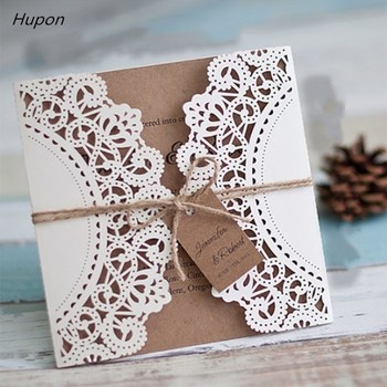 50Pcs Laser Cut Wedding Invitations Cards +Tags Vintage Wedding Bridal Shower Decor Gift Greeting Card Kits Event Party Supplies