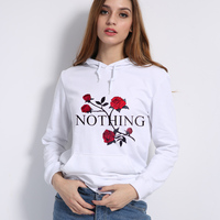 2017 Autumn Winter Long Sleeve Pullovers Sweather NOTHING Letter Rose Print Pullovers Hoodies For Women Tops