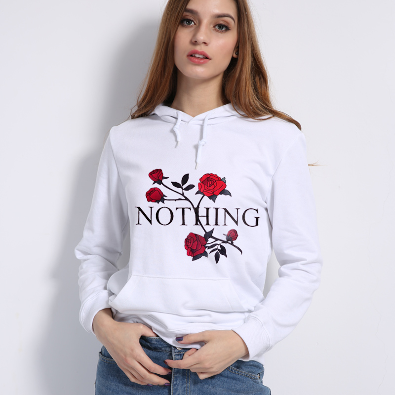 2018 autumn winter long sleeve pullovers sweather NOTHING letter rose print pullovers hoodies for women tops harajuku hoody teen