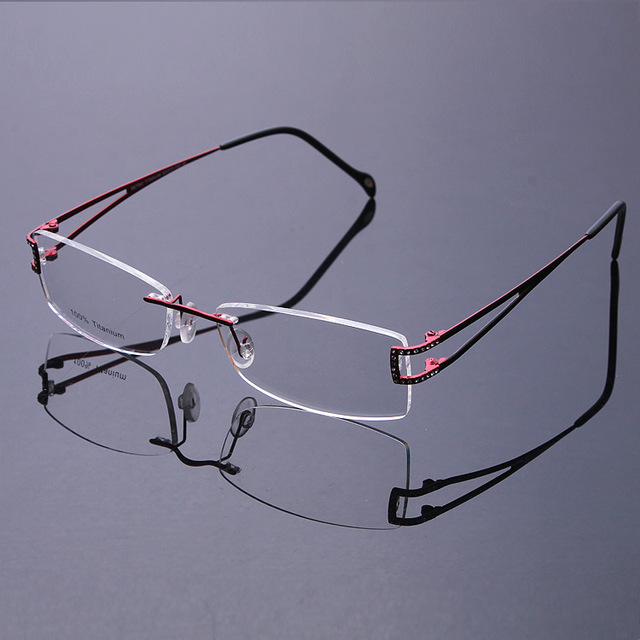 New 2016 Fashion High Grade Ultralight Titanium Flexible Rimless Glasses Frames men women No Lens frame with glasses