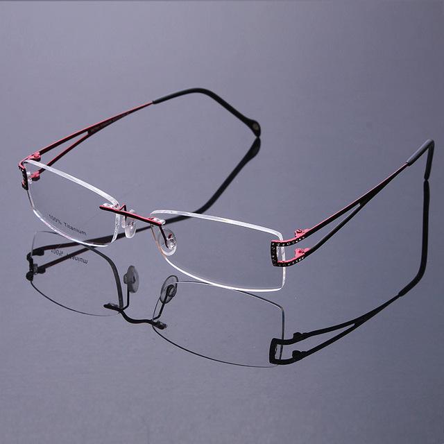 Novo 2016 moda de alta qualidade ultraleve titanium sem aro flexível armações de óculos das mulheres dos homens sem quadro com óculos de lente