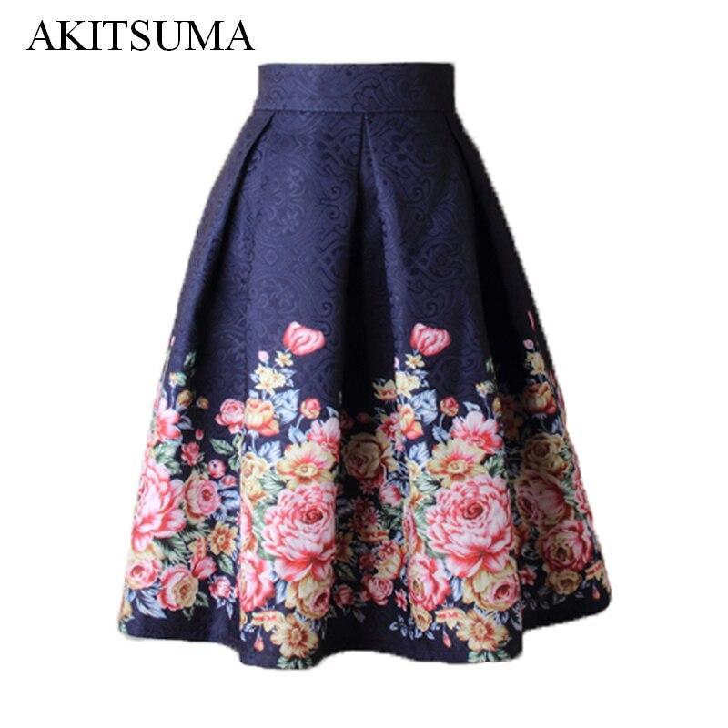 Summer Skirts Women Midi High Waist Floral Skirt Ball Gown Vintage Fashion Skirts Faldas Mujer AKITSUMA