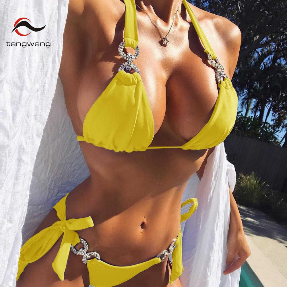 2018 New Crystal Swimsuit Bikini Rhinestone Swimwear Women Sexy Swimsuit Big size 2 piece Female Brazilian Bathing suit Cheap