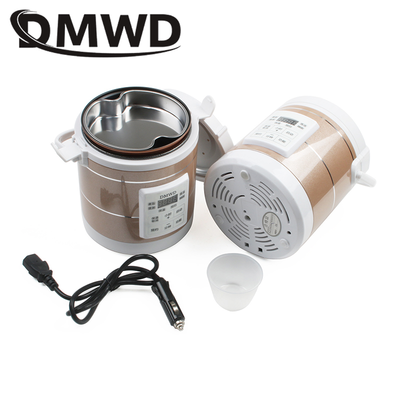 DMWD 12V 24V Mini Rice Cooker Car Truck Soup Porridge Cooking Machine Food Steamer Electric Heating Lunch Box Meal Heater Warmer bear dfh s2516 electric box insulation heating lunch box cooking lunch boxes hot meal ceramic gall stainless steel