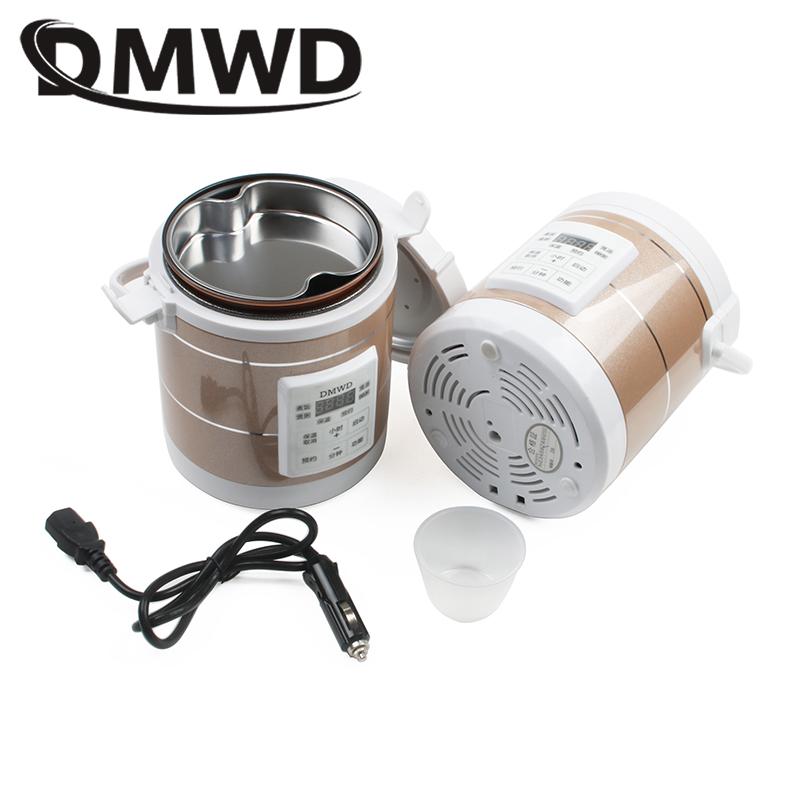 DMWD 12V 24V Mini Rice Cooker Car Truck Soup Porridge Cooking Machine Food Steamer Electric Heating Lunch Box Meal Heater Warmer