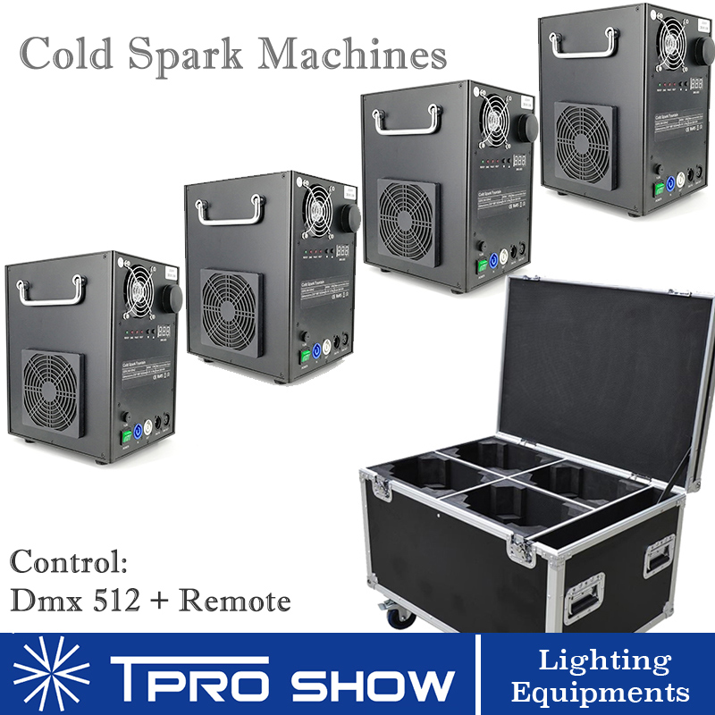 4pcs Cold Spark Firework Machine 400W Sparklers Pyro Fountain Dmx Remote Control Pyrotechnics with Flight Case
