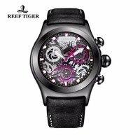Recife Tigre/RT Luminosa Relógio Do Esporte para Homens Esqueleto de Aço Preto Relógios Pulseira de Couro Genuíno RGA792
