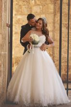 Newest Illusion Tulle Lace Appliques Wedding Dress 2016 gown de mariage  Ball Gown Beadings