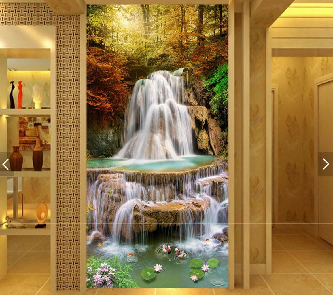 popular waterfall mural buy cheap waterfall mural lots from china modern maple leaf fish falls hallway photo wall paper rolls hd mural living room sofa tv