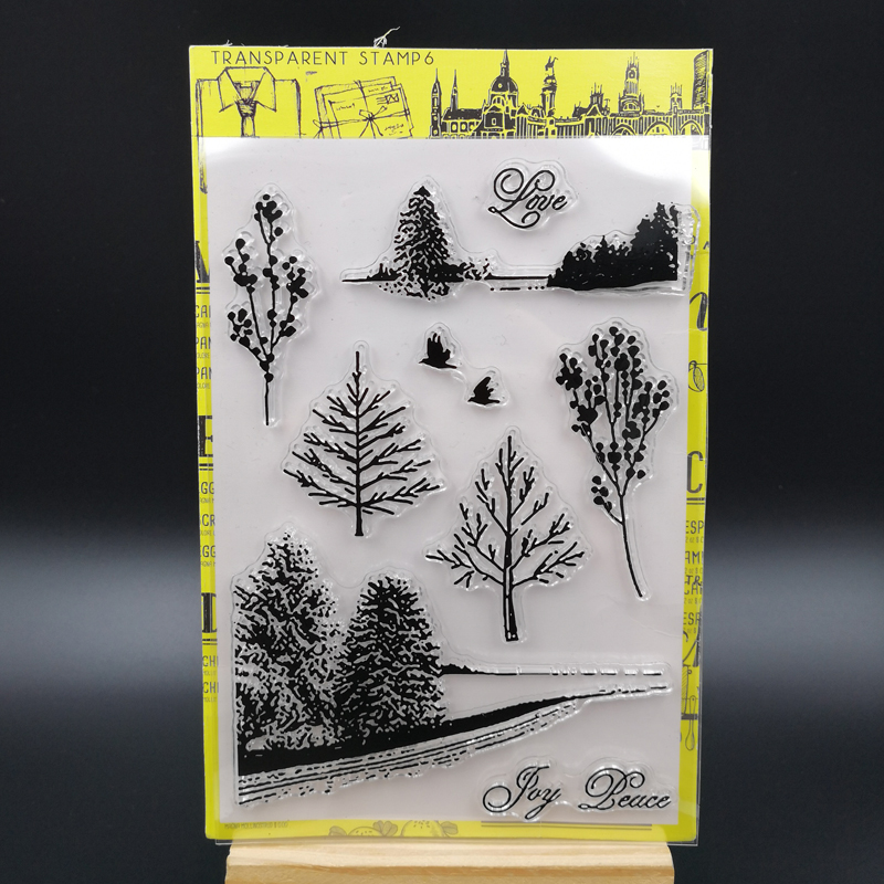 ZFPARTY Trees Transparent Clear Silicone Stamp/Seal for DIY scrapbooking/photo album Decorative card making lovely animals and ballon design transparent clear silicone stamp for diy scrapbooking photo album clear stamp cl 278