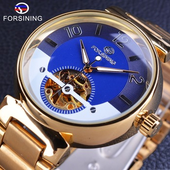 Forsining Blue Ocean Middle East Luxury Design Golden Stainless Steel Men Watches Top Brand Luxury Automatic Wristwatch Clock