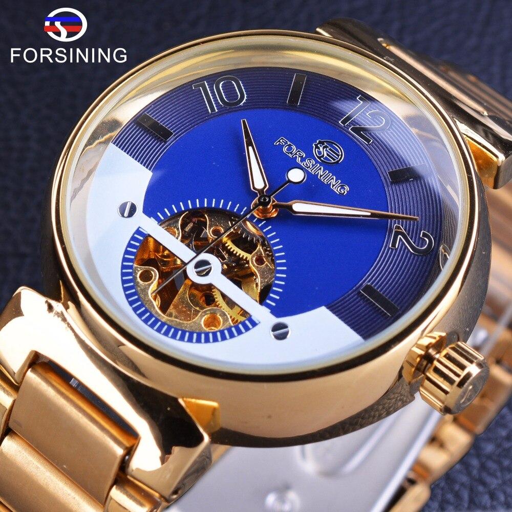 Forsining Blauen Ozean Nahen Osten Luxus Design Goldene Edelstahl Herrenuhren Top-marke Luxus Automatische Armbanduhr Uhr