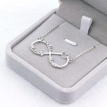 8e9f243c6a5f Color oro infinito personalizada nombre collar con corazón de pareja  personalizado nombre colgantes de acero inoxidable de la jo.