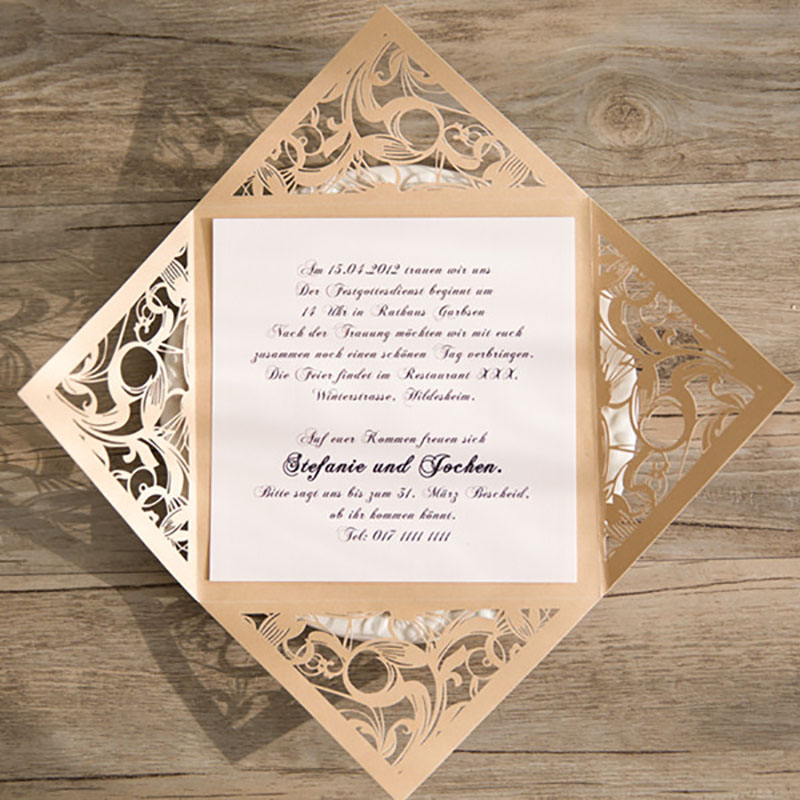 Blank Printable Wedding Invitations: Aliexpress.com : Buy 50 Set Gold Design Rose Flower Blank