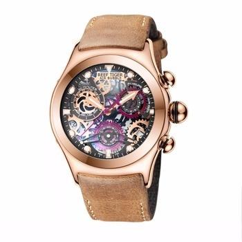 Reef Tiger/RT Skeleton Sport Watches for Men Rose Gold Luminous Quartz Watches Genuine Leather Strap RGA792 2