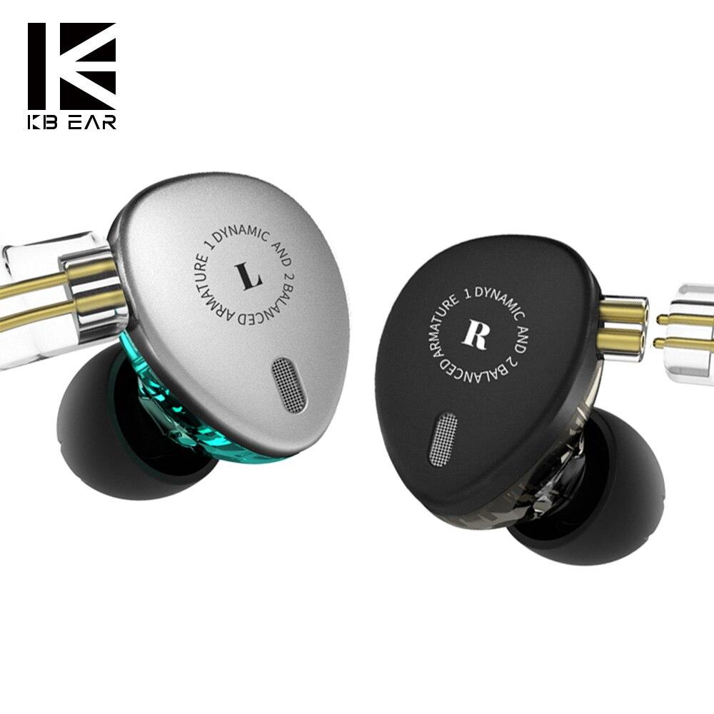 Kbear KB06 2BA + 1DD Híbrido HIFI DJ stage Monitor Em fones de Ouvido Fone de Ouvido Com Conector MMCX Earplug