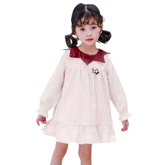 MUQGEW girls teenage clothes costume kids Girls Long Sleeve Doll Collar Stripe Dress roupas infantis menina com frete gratisy2