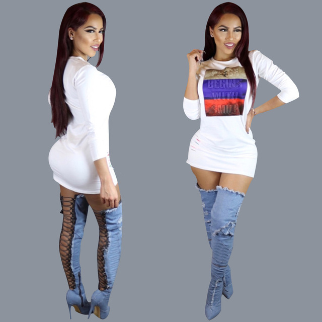 Mujeres de la manera visten 2016 nuevos otoño salvaje de impresión Digital en blanco largo manga del o-cuello delgado de la cadera sexy party club wear vestido de camiseta