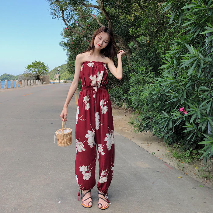 2019 Summer Floral Print Strapless Soft Women Rompers High Waist Side Slit Stretchy Cuff Women Casual Beach Jumpsuits 11