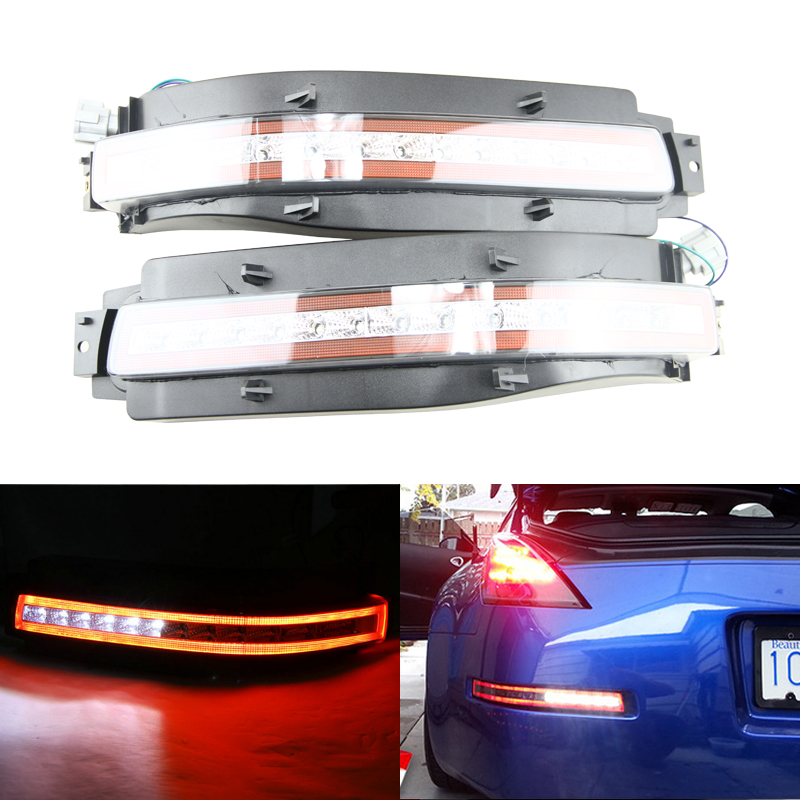 Smoke Clear lens For Nissan 350Z 03-09 Led White Reversing/Amber Turn Signal/ Red Rear Fog/Red Brake Light Lamps Assemblies