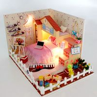 Diy Doll House Villa Model Include Dust Cover Furniture Led Miniature 3D Puzzle Wooden Dollhouse Creative