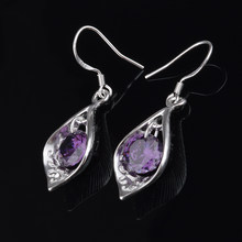 Shell Shape Drop Earrings For Women Purple Zircon Earring Earings 925 Sterling Silver Jewelry Earing Brincos Brinco Oorbellen(China)