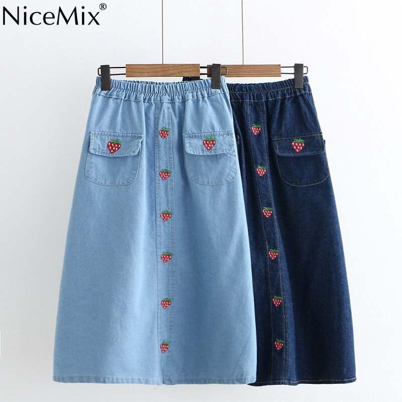 395381b73 NiceMix 2019 verano alta cintura Faldas Mujer Jeans falda Casual Kawaii  fresa bordado Denim Falda ...