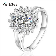 Vissap S925 White gold filled Jewelry Ring Women CZ Diamond Luxury Wedding Bague ring Bijouterie