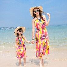 Семья установлены летом новый шифона платье богемный пляж платье приморский курорт мать дочь платья