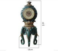 Retro Home Decorations Clocks Living Room Creative Clocks Sitting Lucky Elephant Decoration Table Desktop Mute Clock Ornaments