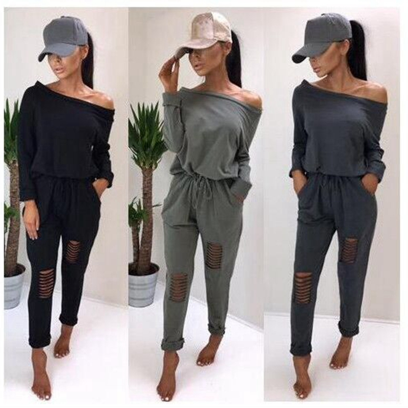 CFYH Solid Hole Sexy   Jumpsuit   Women Summer Spring Off Shoulder Rompers Womens   Jumpsuit   Beach Bodycon Overalls Playsuit Size XL
