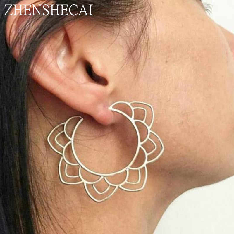 Bohemia Ethnic Personality Round Spiral stud Earrings sliver gold color Exaggerated Earrings for Women Beach Jewelry wholesale