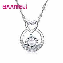Elegant 925 Sterling Silver Austrian Crystal Pendants Necklaces For Women Female Anniversary Wedding Pure Love Jewelry(China)