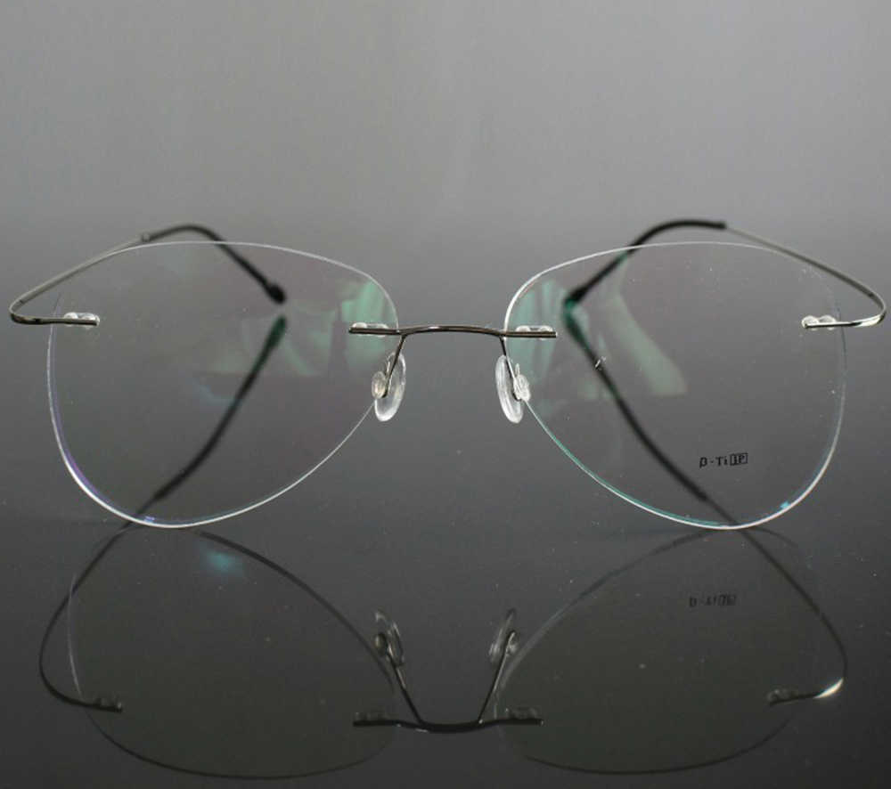 Silver Ultra-light Rimless frame Classic TREND Spectacles with Optical lenses or Photochromic gray / brown Lenses