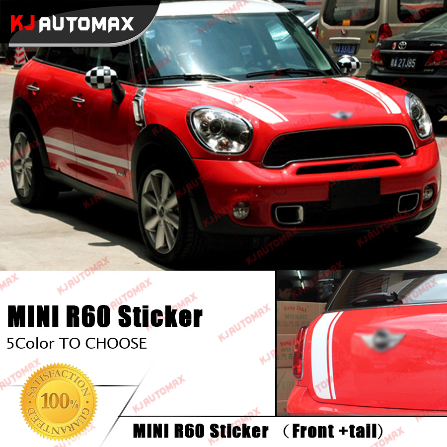 Car Front + Tail Creative Racing Stripes Stickers Decals for Mini Cooper R60 Countryman 2007-2016 Hood and Rear Decals C free shipping automobile label car stickers for great wall changcheng front windshield stickers for front window