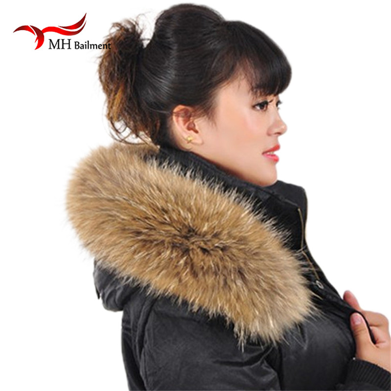 Genuine Natural Raccoon Fur Collar Scarf Women Fashion Coat Sweater Scarves Jacket Luxury Neck Cap Scarf, Hat Glove Sets L06