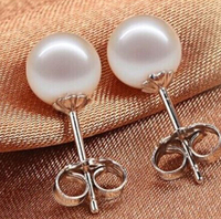 Hot Sell New Free Shipping 13377 PAIR Of South Sea Genuine White Perfect Round Pearl Earring